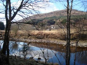Gun Club Cottage from south bank of river Spean